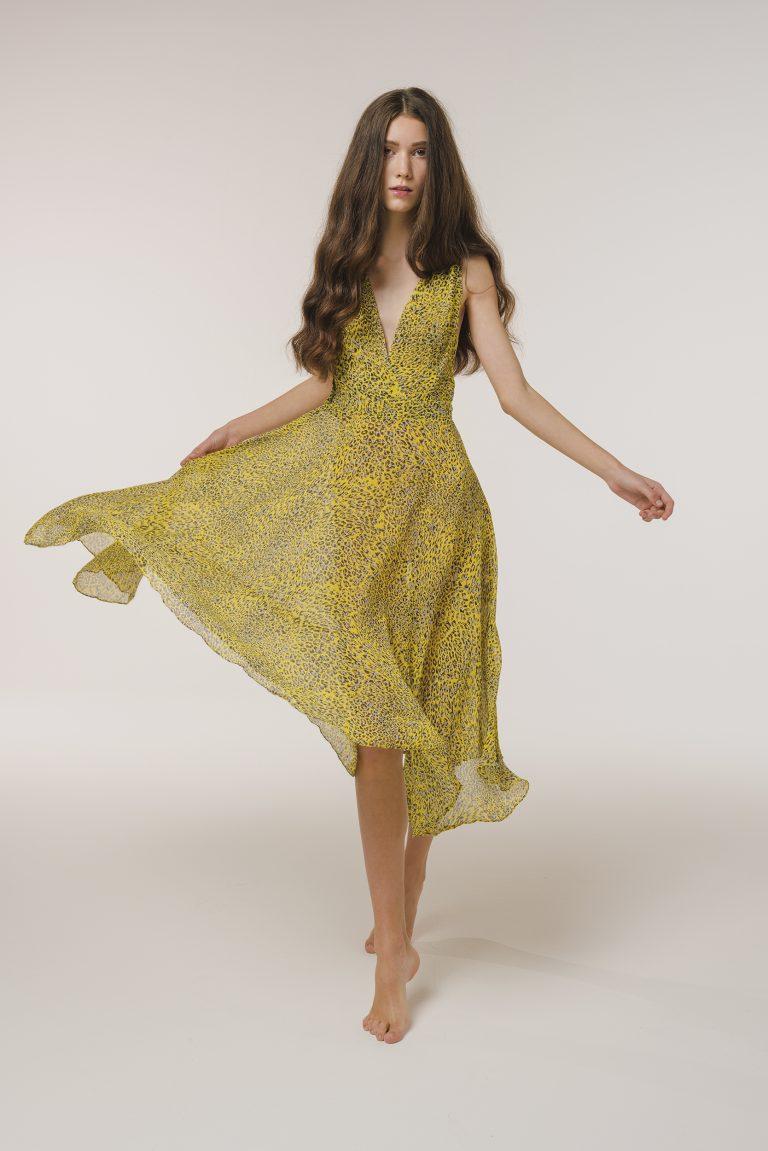 animalier silk print dress